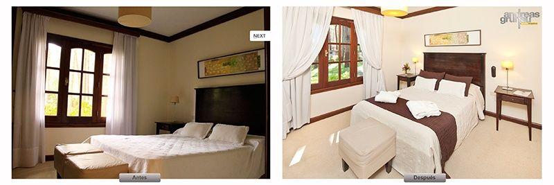 antes y despues de una habitación de hotel, innovación en el sector inmobiliario