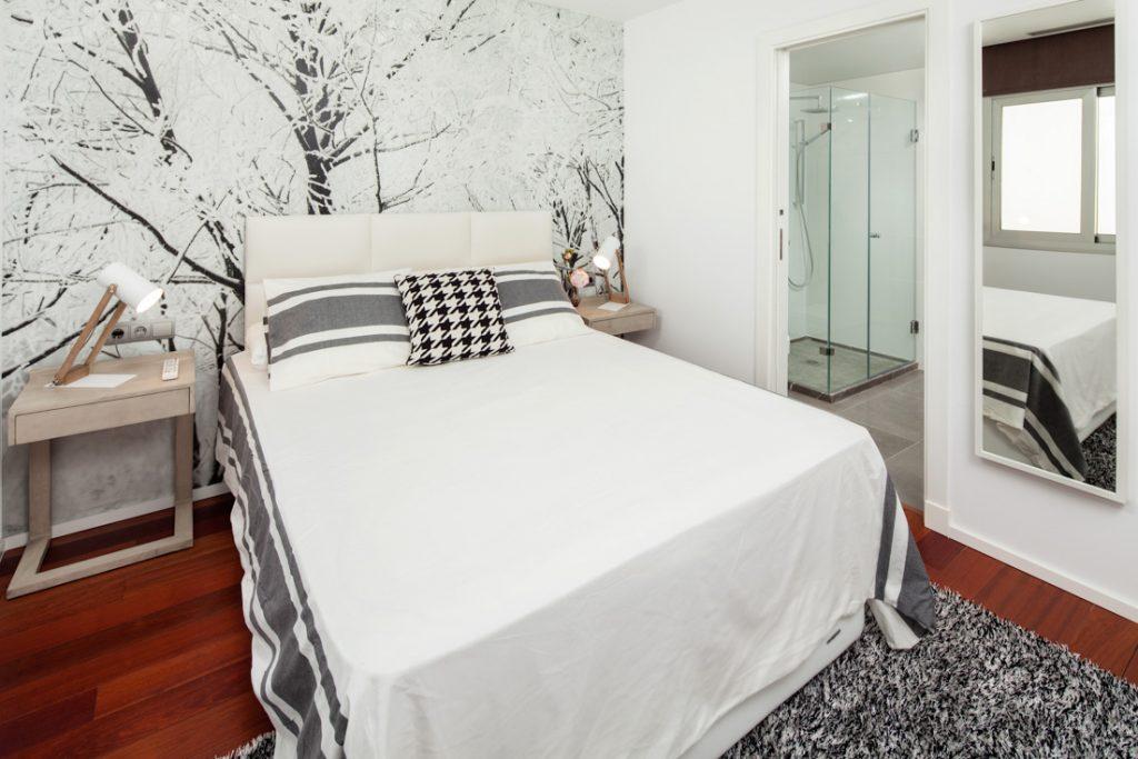 papel pintado en dormitorio, decoración de dormitorio, dormitorio moderno, fotografo andreas grunau
